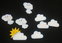 Streuteile -  8 Wolken (ca. 3,5cm)